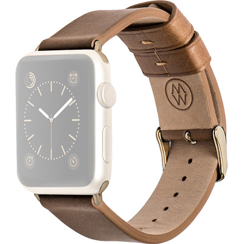 MONOWEAR Brown Leather Band for 42mm Apple Watch (with Yellow Gold Adapter)