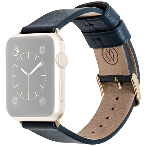 MONOWEAR Blue Leather Band for 42mm Apple Watch (with Yellow Gold Adapter)