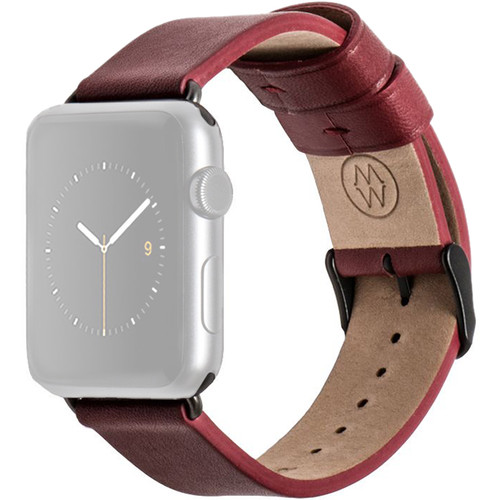 MONOWEAR Red Leather Band for 38mm Apple Watch (with Matte Dark Gray Adapter)