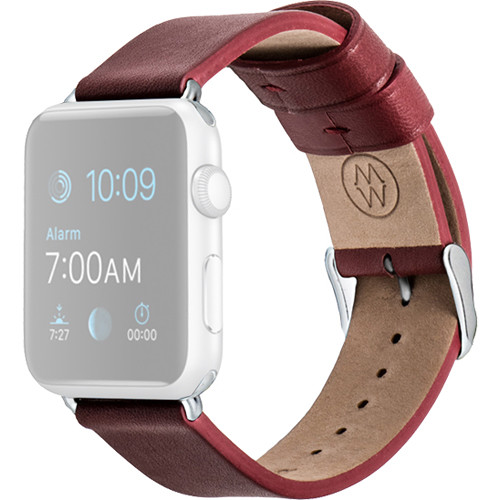 MONOWEAR Red Leather Band for 42mm Apple Watch (with Matte Dark Gray Adapter)