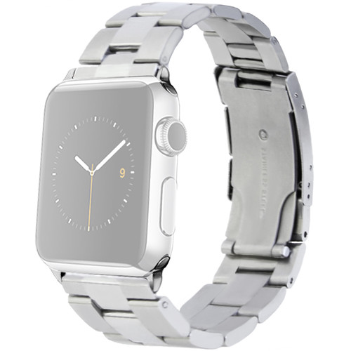 MONOWEAR Silver Metal Band for 42mm Apple Watch (with Matte Silver Adapter)