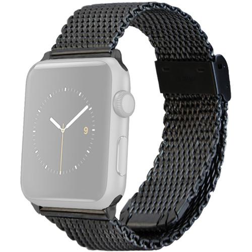 MONOWEAR Mesh Band for 38mm Apple Watch (Black with Dark Matte Gray Adapter)
