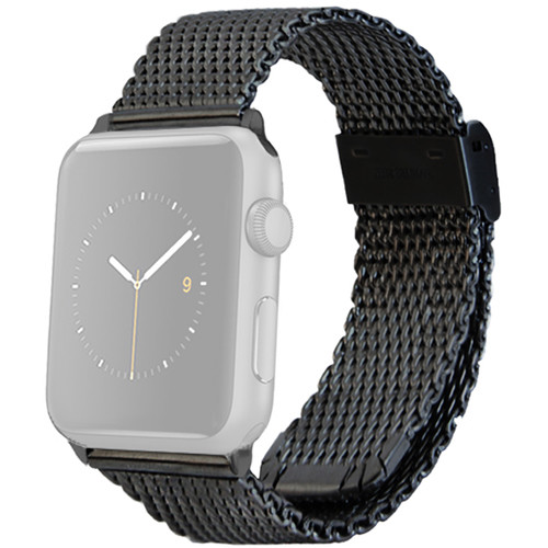 MONOWEAR Mesh Band for 42mm Apple Watch (Black with Dark Matte Gray Adapter)