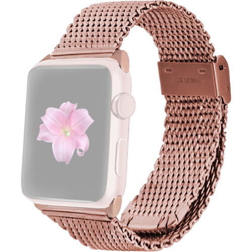 MONOWEAR Mesh Band for 42mm Apple Watch (Rose Gold with Rose Gold Adapter)