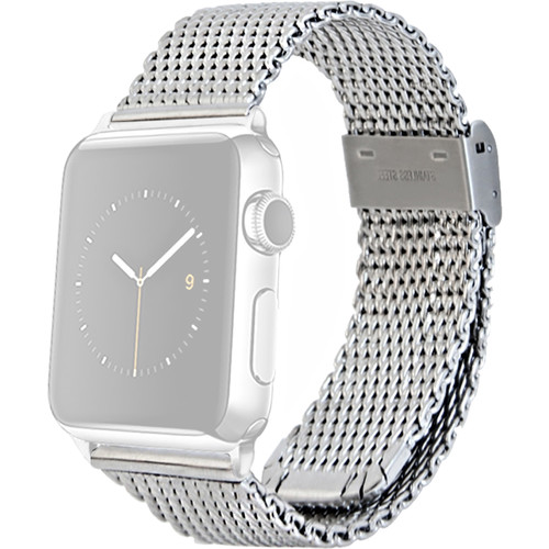 MONOWEAR Mesh Band for 42mm Apple Watch (Silver with Matte Silver Adapter)