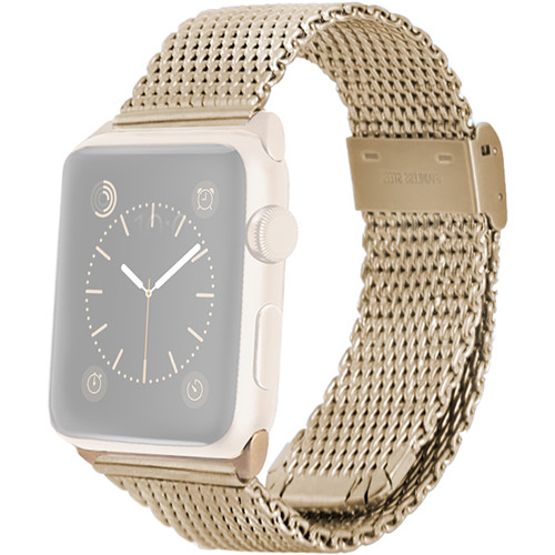 MONOWEAR Mesh Band for 42mm Apple Watch (Yellow Gold with Yellow Gold Adapter)