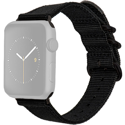 MONOWEAR Nylon Band for 42mm Apple Watch (Black with Matte Dark Gray Adapter)