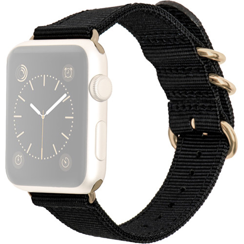 MONOWEAR Nylon Band for 42mm Apple Watch (Black with Yellow Gold Adapter)
