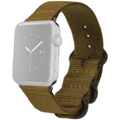 MONOWEAR Nylon Band for 38mm Apple Watch (Olive with Matte Dark Gray Adapter)
