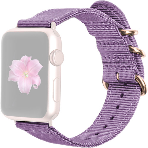 MONOWEAR Nylon Band for 38mm Apple Watch (Purple with Rose Gold Adapter)