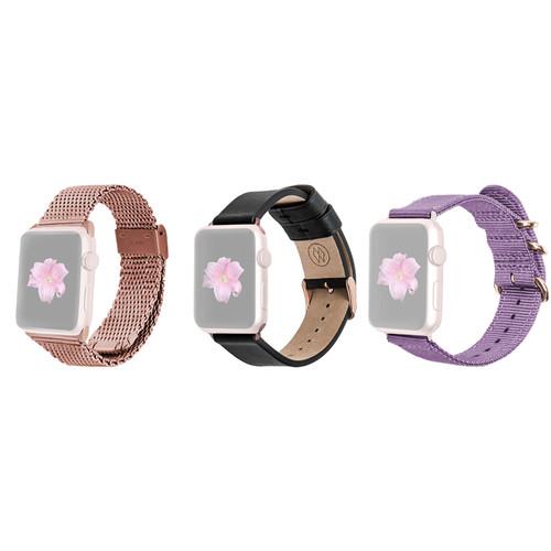MONOWEAR Premium Watch Band Bundle for 38mm Rose Gold Apple Watch