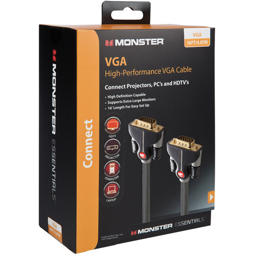 Monster Cable Essentials High Performance VGA Male to VGA Male Cable (Black, 16')