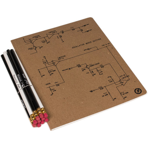 "Moog Schematic Notebook & Synthesis Pencil Set (8 x 10"")"