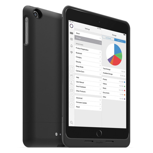 mophie Space Pack with External Battery & 128GB Storage for iPad mini (Black)