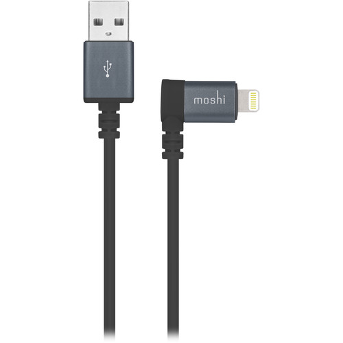 Moshi USB Type-A Male to Angled Lightning Male Cable (5', Black)