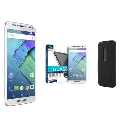 Moto Moto X Pure Edition 64GB Smartphone with Black DualPro Case Kit (Unlocked, White/Bamboo)