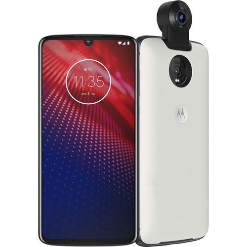 Moto Z4 128GB Smartphone with 360° Moto Mod (Unlocked, White)