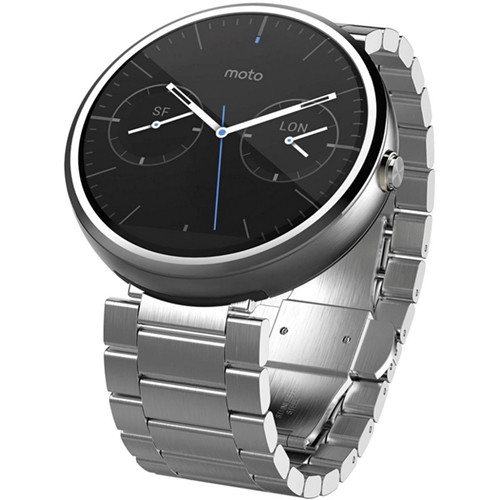 Moto Moto 360 Smartwatch (Light Finish, Light Stainless Steel Band, Regular Fit)