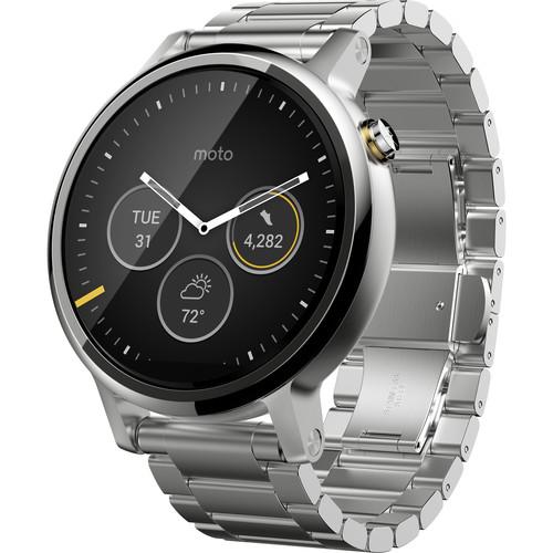 Moto 2nd Gen Moto 360 46mm Men's Smartwatch (Silver, Silver Metal Band)