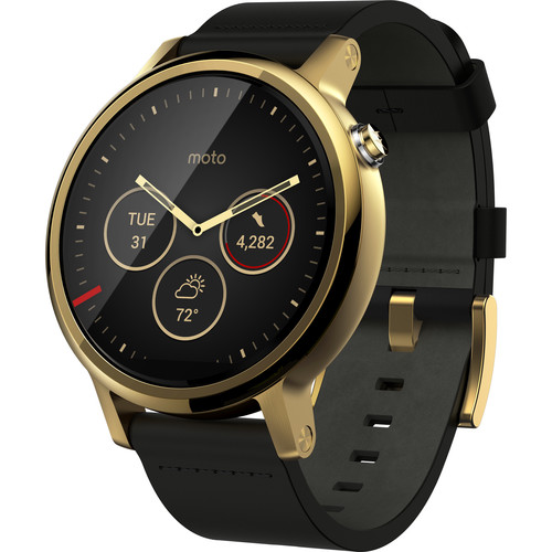 Moto 2nd Gen Moto 360 46mm Men's Smartwatch (Gold, Black Leather Band)