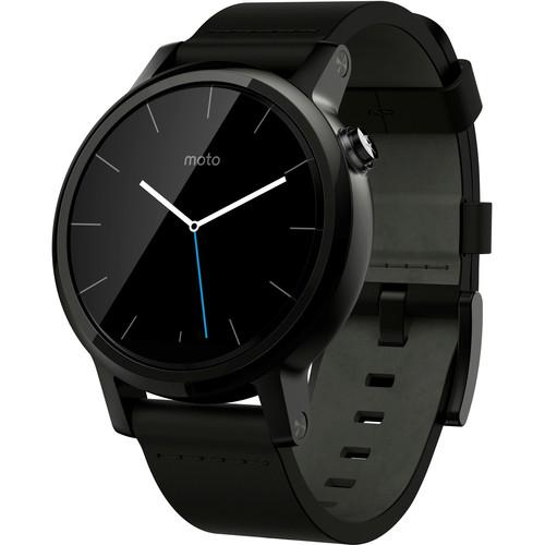 Moto 2nd Gen Moto 360 42mm Men's Smartwatch (Black, Black Leather Band)