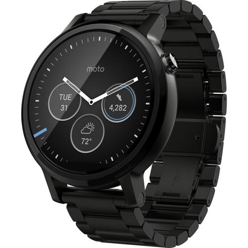 Moto 2nd Gen Moto 360 46mm Men's Smartwatch (Black, Black Metal Band)