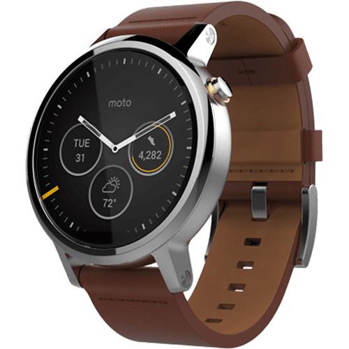 Moto 2nd Gen Moto 360 46mm Men's Smartwatch (Silver, Cognac Leather Band)