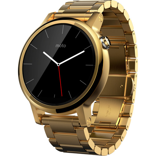 Moto 2nd Gen Moto 360 42mm Women's Smartwatch (Gold, Gold Metal Band)