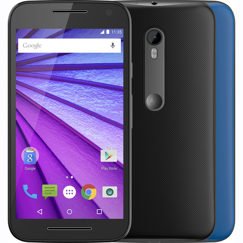Moto Moto G XT1540 3rd Gen 8GB Smartphone (Unlocked, Black with Additional Blue Shell)