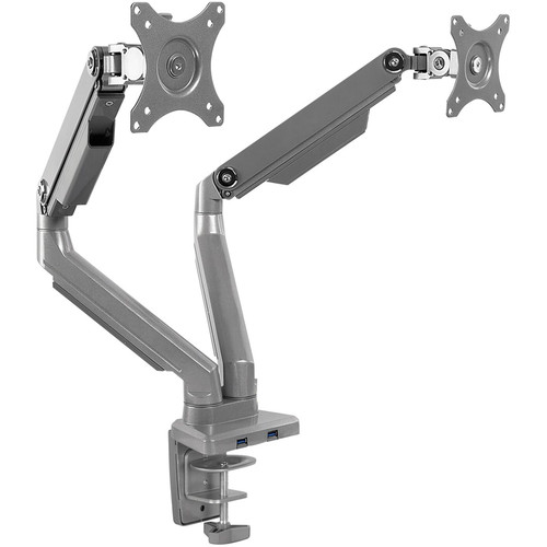 Mount-It! Mount-It Dual Monitor Mount Arm, Height Adjustable Full Motion Arms With Mechanical Spring, 2 X Usb