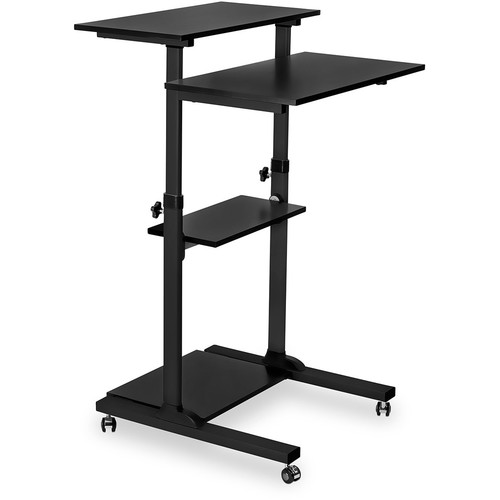 Mount-It! Height-Adjustable Rolling Stand-Up Desk (Silver)