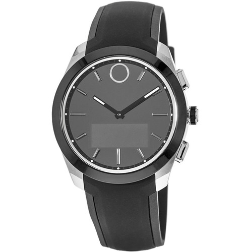 MOVADO Bold Connected II 44mm Smartwatch (Black, Black Silicone Band)