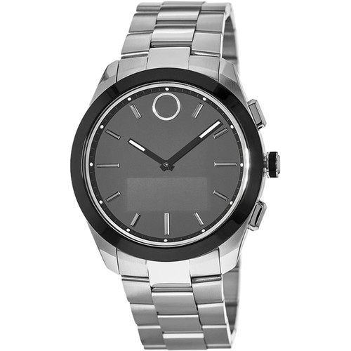 MOVADO Bold Connected II 44mm Smartwatch (Silver, Silver Stainless Steel Band)