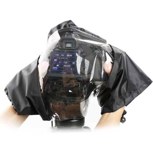 Movo Photo Waterproof Nylon Rain Cover with Enclosed Hand Sleeves for DSLR Cameras (Black)