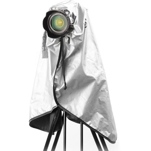 Movo Photo Extra-Long Waterproof Rain Coat for DSLR, Lens & Tripod (Metallic Gray)