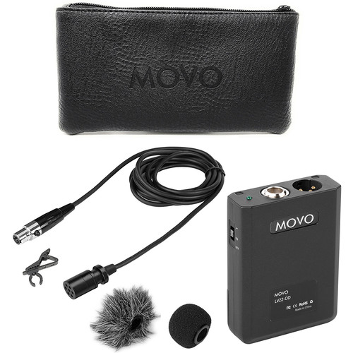 Movo Photo XLR Lavalier Omnidirectional Condenser Microphone With Phantom Power Supply Body Pack, 12Mm Mic Caps