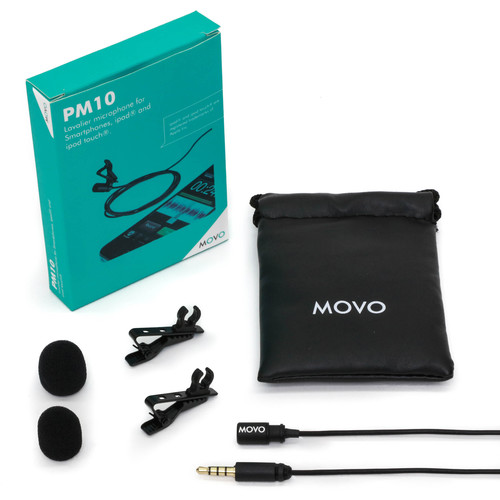 Movo Photo PM10 Omnidirectional Lavalier Microphone for Smartphones (TRRS, Black)