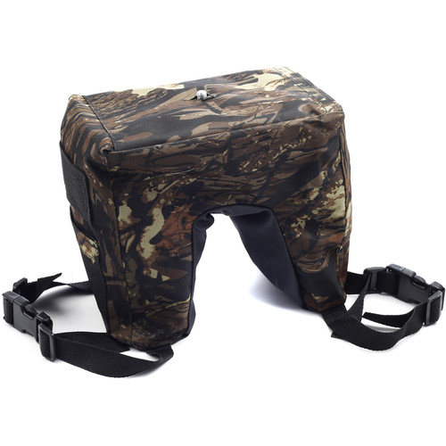 Movo Photo Camouflage Camera Lens Bean Bag With Head Mounting Plate (Deep Woods) (Full Size)