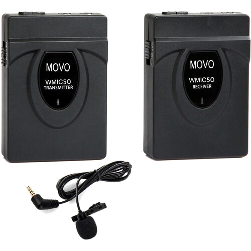Movo Photo 2.4GHz Wireless Lavalier Microphone System With Integrated 164' Range Antenna