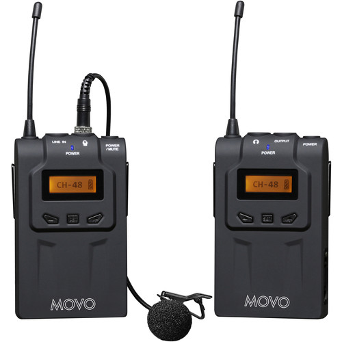 Movo Photo Wireless 48-Channel UHF Lavalier Microphone System With Omni-Lav Camera Mount