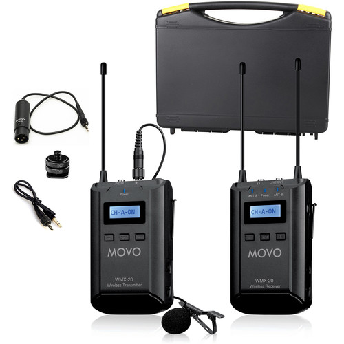 Movo Photo WMX-20 Camera-Mount Wireless Lavalier Microphone System (UHF: 556.71 to 595.66 MHz)