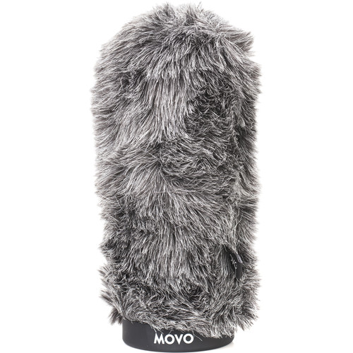 """Movo Photo WS-G160 Furry Rigid Windscreen for Microphones up to 6.3"""" Long and 18 to 23mm in Diameter (Dark Gray)"""