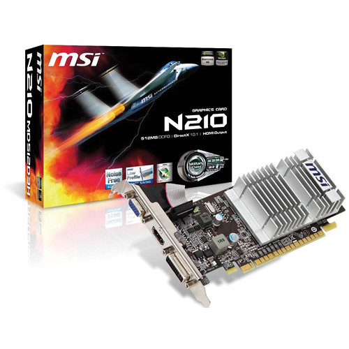MSI N210 512MB 1200 MHz DDR3 HDCP Graphics Card
