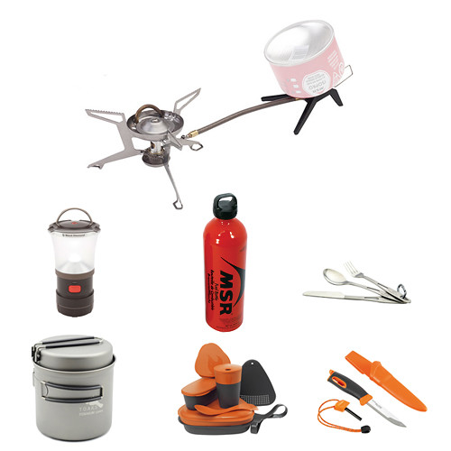 MSR Whisperlite Universal Hydrid-Fuel Stove Camp Cooking Kit