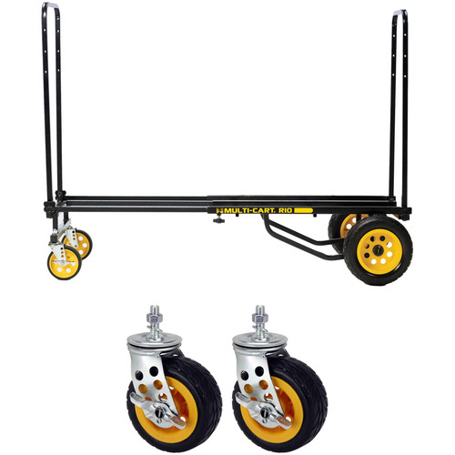 "MultiCart R10RT Max 8-in1 Hand Truck & Low-Profile All-Terrain 5"" Braking Casters Kit"