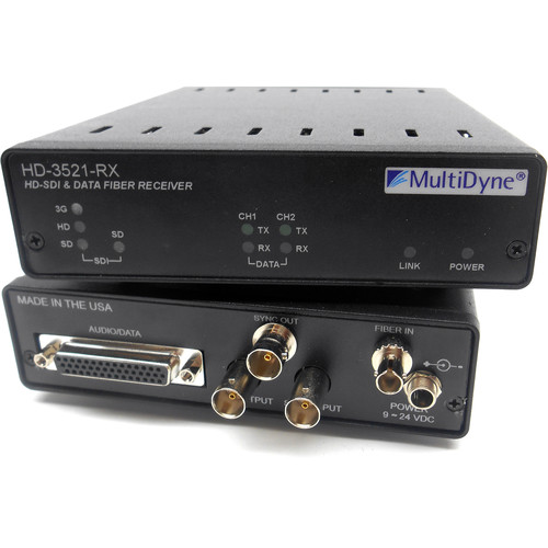 MultiDyne HD-3521-RX-53-ST 3 Gbps Serial Digital Video Transceiver with 2-Channel 2-Way Data over Single-Mode Fiber Connection