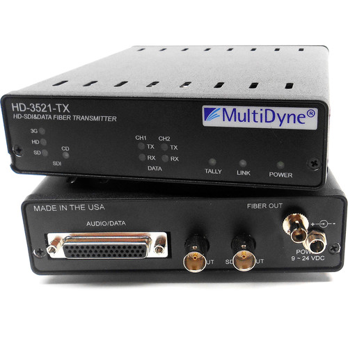 MultiDyne HD-3521-TX-35-ST 3 Gbps Serial Digital Video Transceiver with 2-Channel 2-Way Data over Single-Mode Fiber Connection