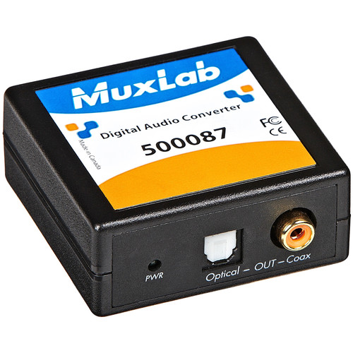 MuxLab 50087 Digital Audio Toslink Fiber Optic to/from S/PDIF Coax Converter