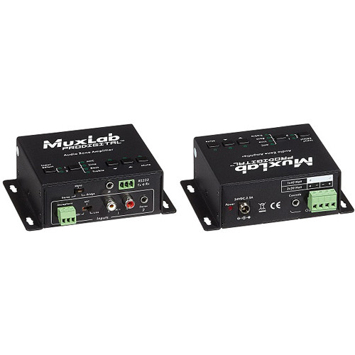 MuxLab Audio Zone Amplifier with Two Stereo Inputs, Microphone Input, and Two Speaker Outputs (UK)