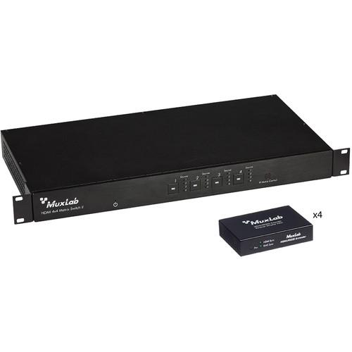 MuxLab HDMI 4x4 Matrix Switch HDBaseT with PoE & Rx Kit (US Power Cord)